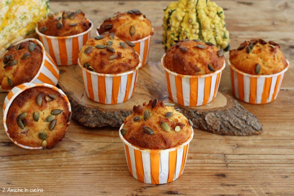 Muffin salati alla zucca e pancetta affumicata