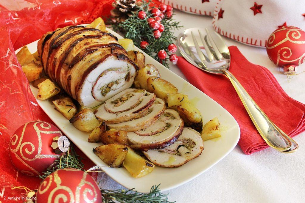 Arrosto di tacchino con pesto di pistacchi, prosciutto alle erbe e patate, dal ricettario Eurospin