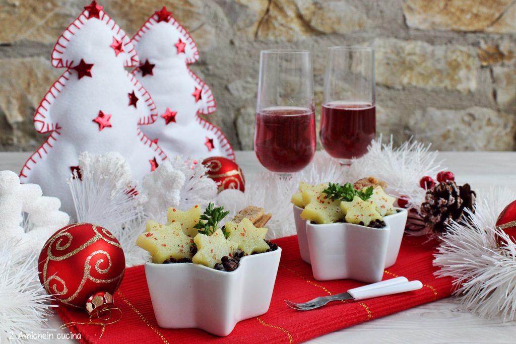 Antipasto per le feste, crema di topinambur e patate con sardine e lenticchie beluga