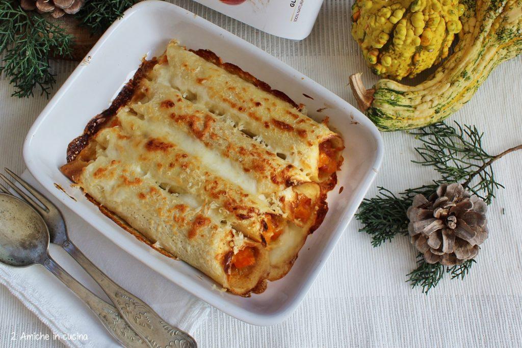 Cannelloni di crepes di fonio senza glutine, con zucca e speck