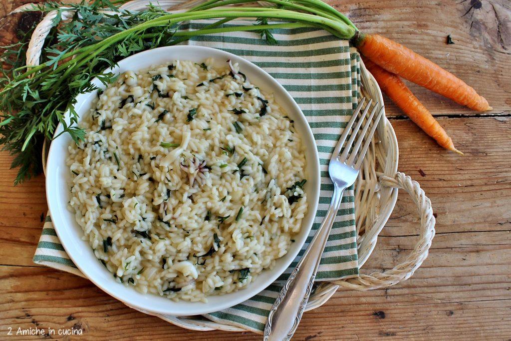 Ricetta per preparare il risotto con foglie di carote e seppioline.