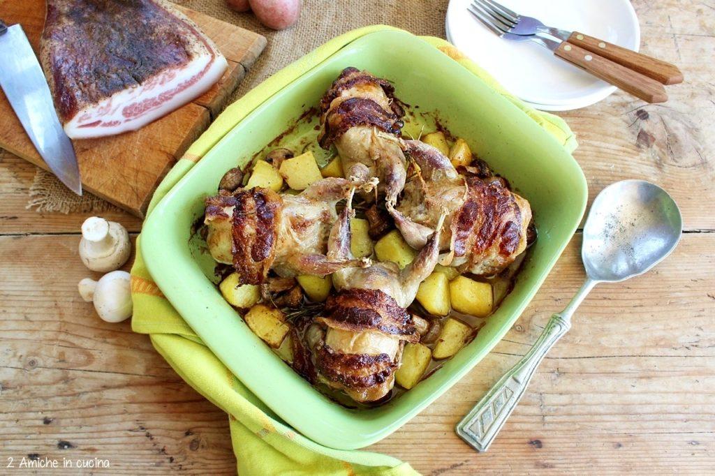 Secondo al tartufo con salsiccia, cotto in forno con patate rosse di Colfiorito IGP e funghi champignon