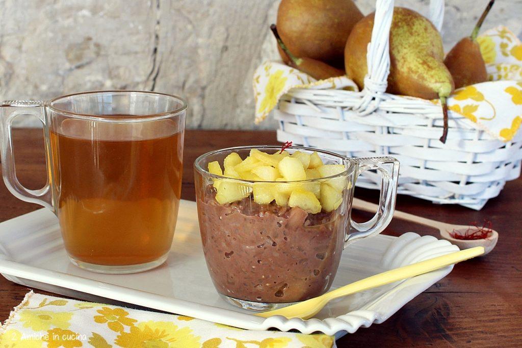 Risolatte al cacao con pere allo zafferano