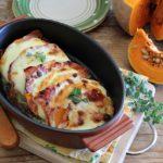 Ricetta della parmigiana di zucca, provola e speck, ricetta senza frittura.