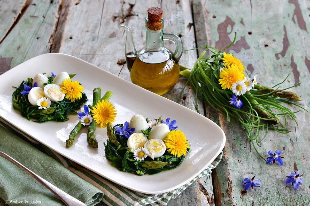 Uova di quaglia in nido di agretti e asparagi con uova sode e fiori edibili