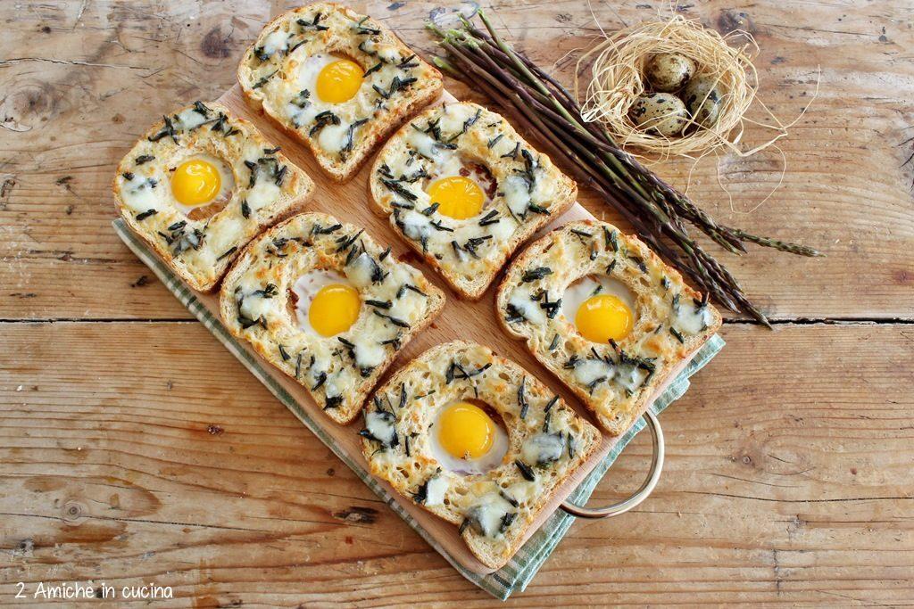 Crostini con asparagi selvatici, pecorino e uova di quaglia