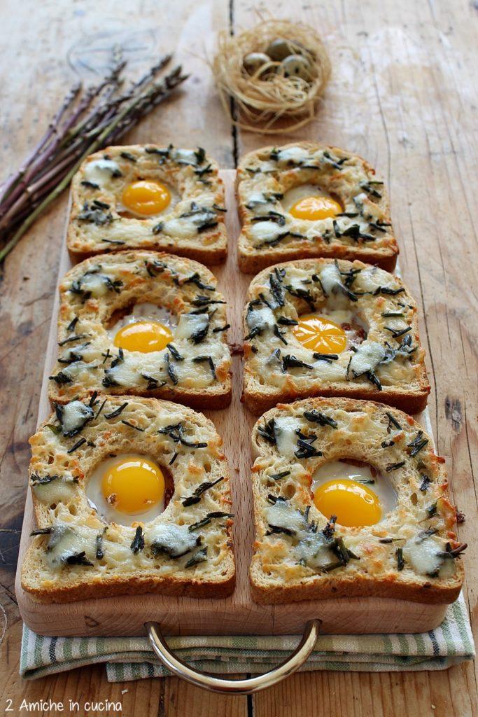 Pane ai cerali con uovo di quaglia al forno