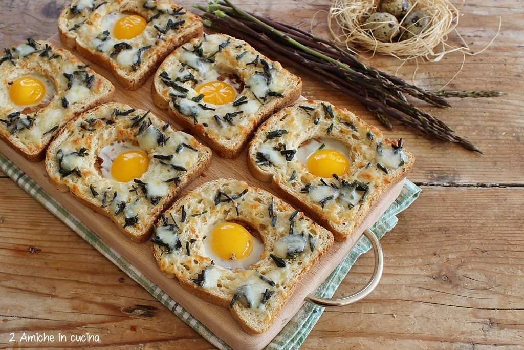Pane con pecorino, asparagi e uova di quaglia, cotto in forno, antipasto facile e veloce