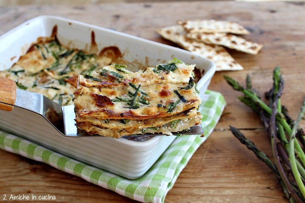 Lasagne senza lattosio e vegan con pane azzimo e asparagi