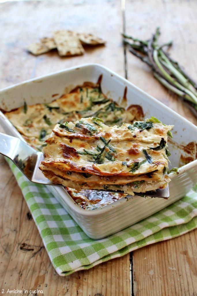 Lasagne di pane azzimo e asparagi, senza lattosio e vegan