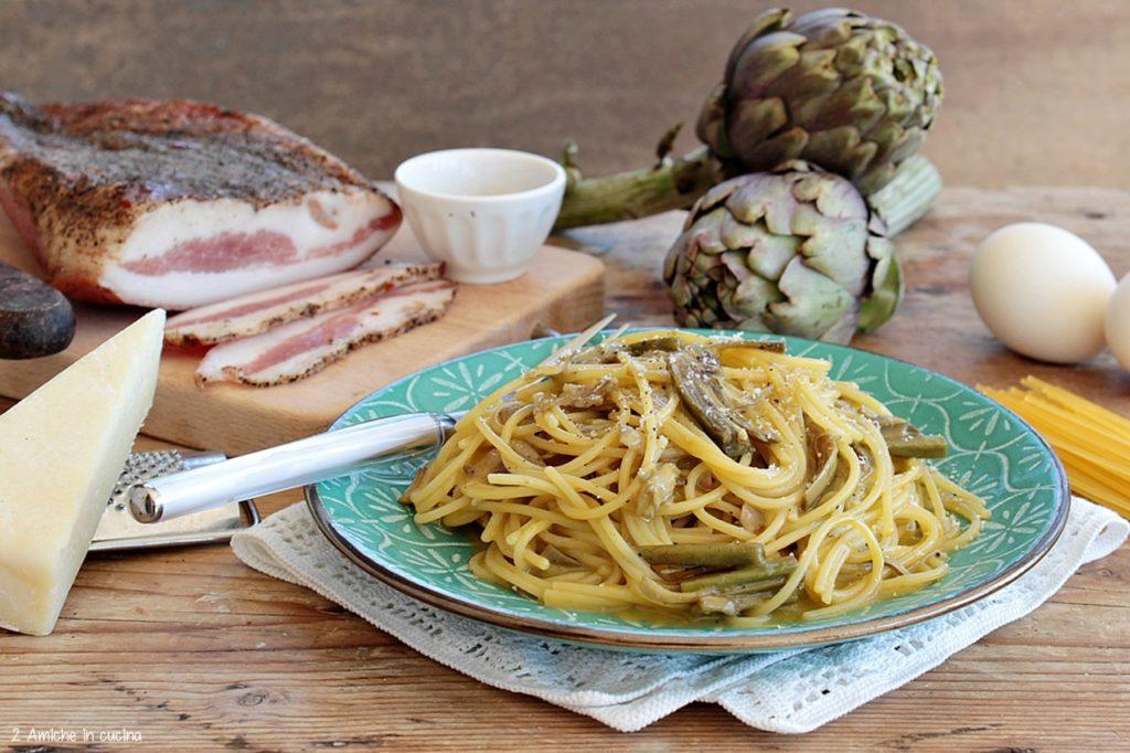 Spaghetti alla carbonara con i carciofi