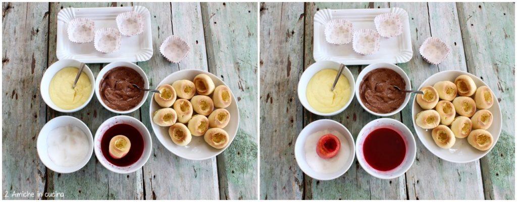 Preparare le pesche dolci all'alchermes, con crema e cioccolato