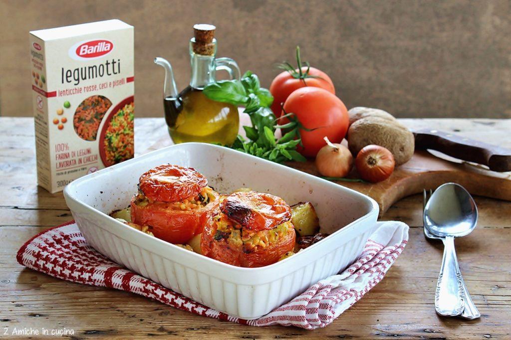 Pomodori ripieni al forno con legumotti, patate e cipolle