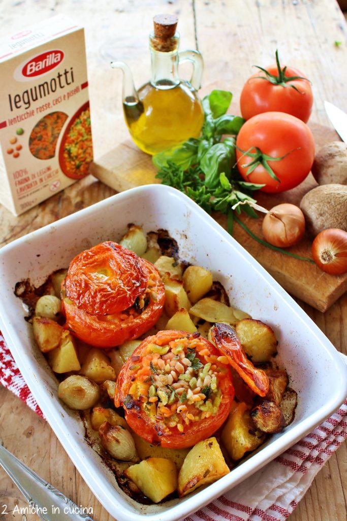 Pomodori ripieni di legumotti con patate e cipolle