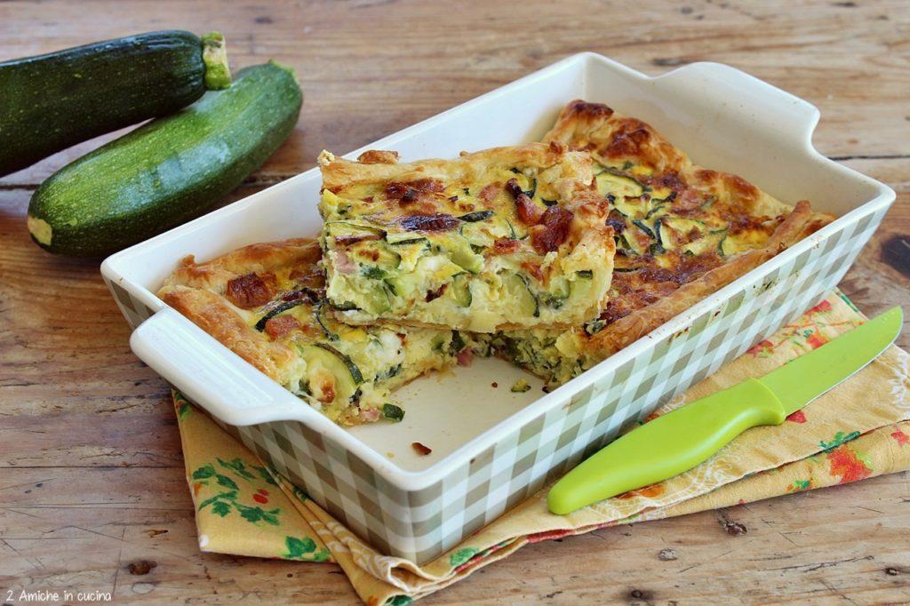 Torta salata alle zucchine, cotto e formaggio