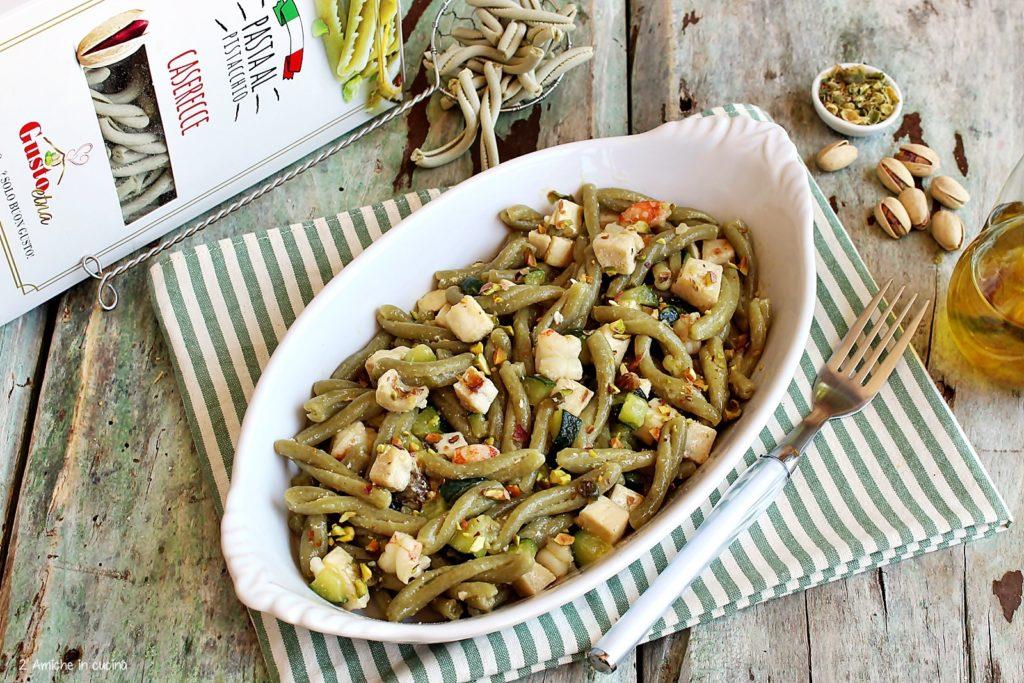 Pasta al pistacchio con pesce e verdure
