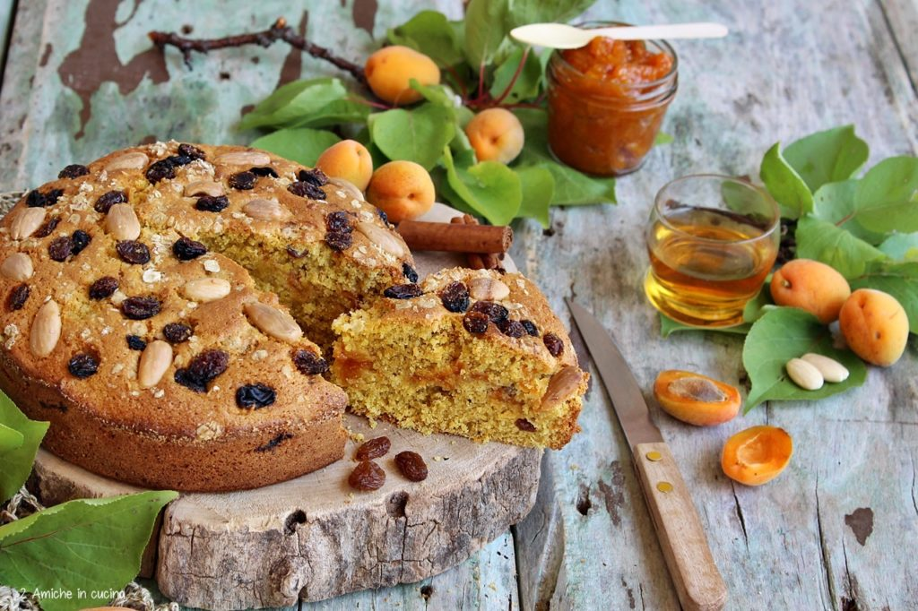 torta da colazione con avena, albicocche e uvetta al rum
