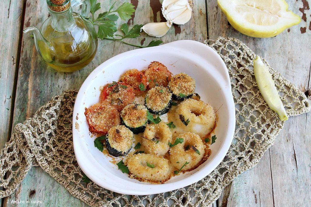 totano e verdure panati e cotti in forno