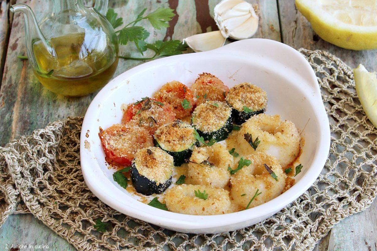 totano con zucchine e pomodorini gratinati al forno
