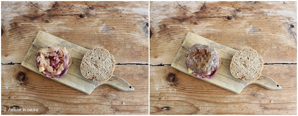 preparare il panino di segale con hamburger e mele
