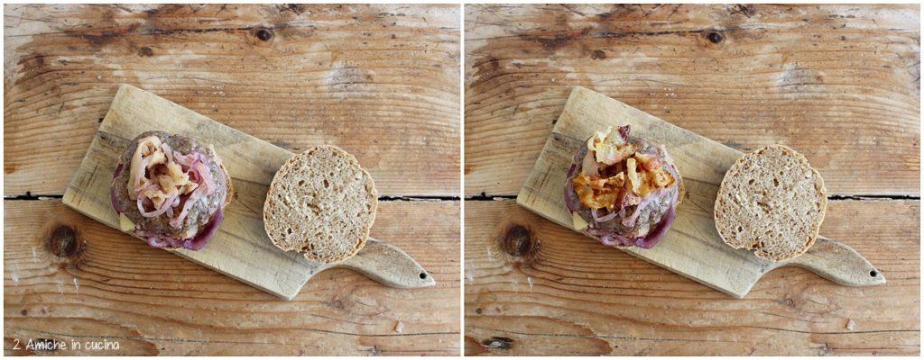 preparazione del panino di segale e hamburger