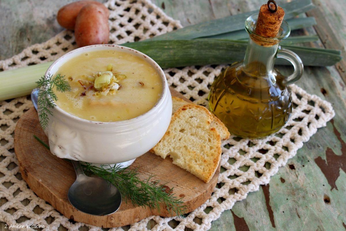 Crema di porri e patate rosse di Colfiorito IGP, ricetta vegan, senza lattosio e senza glutine