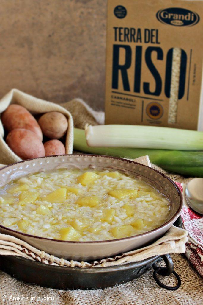Minestra di riso e patate con porri