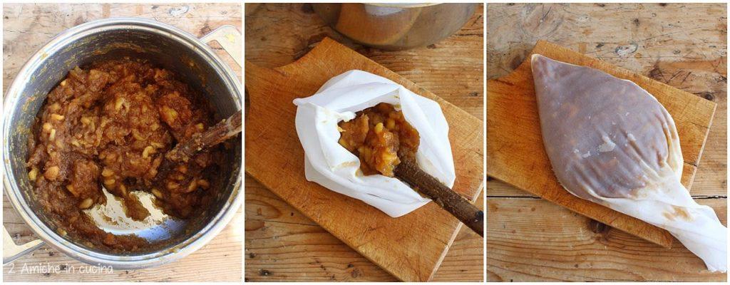 Cottura delle mele per il formaggio di mele lituano