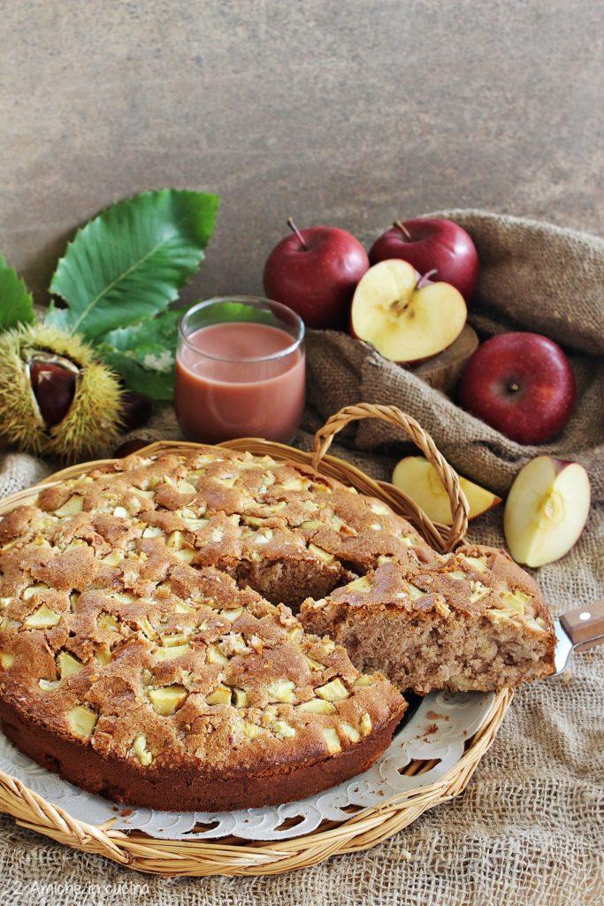 Torta soffice alle mele e castagne, senza glutine e senza lattosio