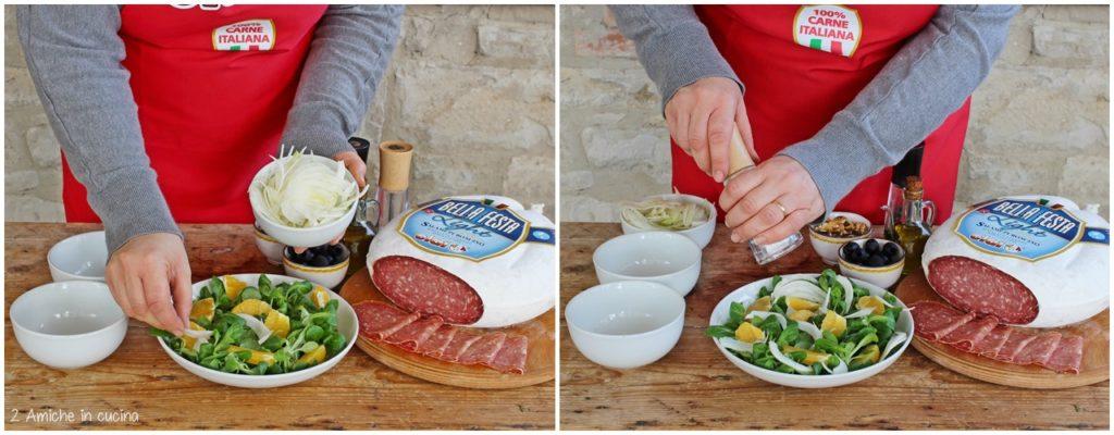 Preparare un'insalata con frutta secca e salame Bellafesta light Clai