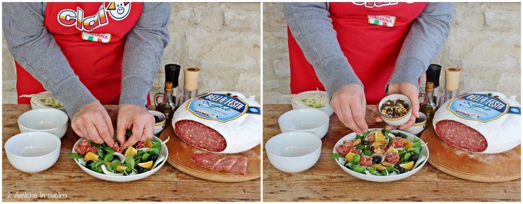 Come preparare un'insalata con frutta secca e salame