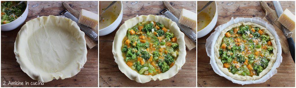 Torta salata con verdure e formaggio Piave DOP preparazione passo passo