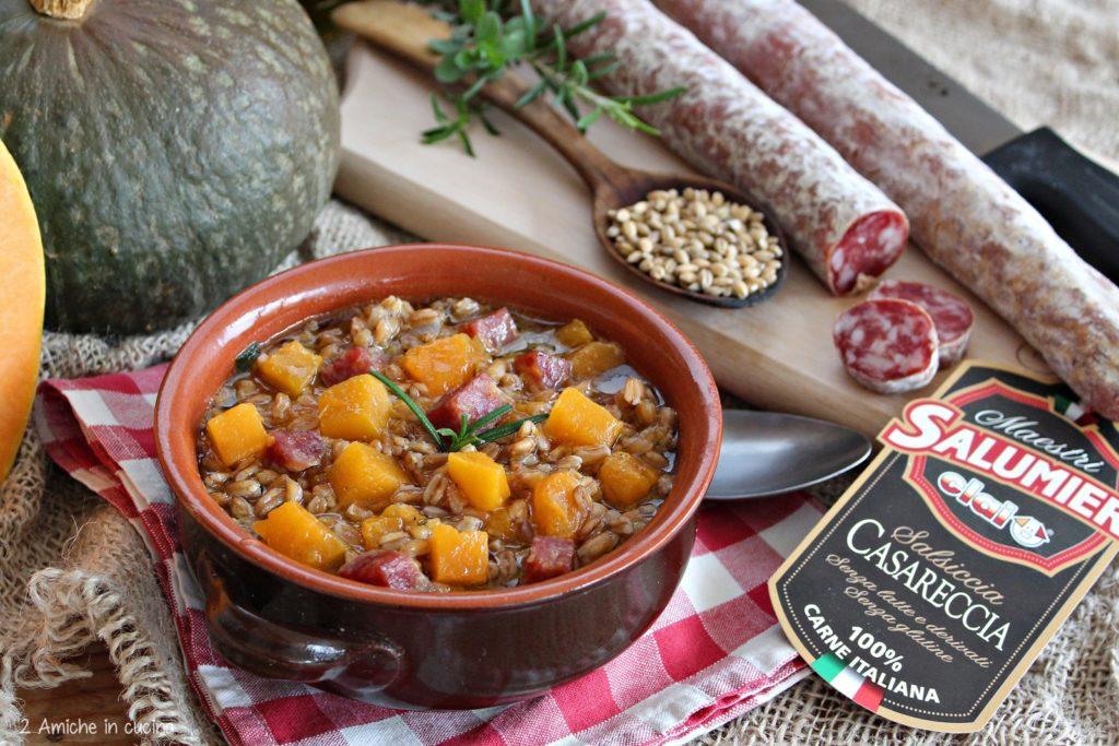 Zuppa di farro e zucca con salsiccia Casareccia CLAI