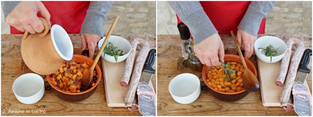 Come preparare la zuppa di farro e zucca con salame