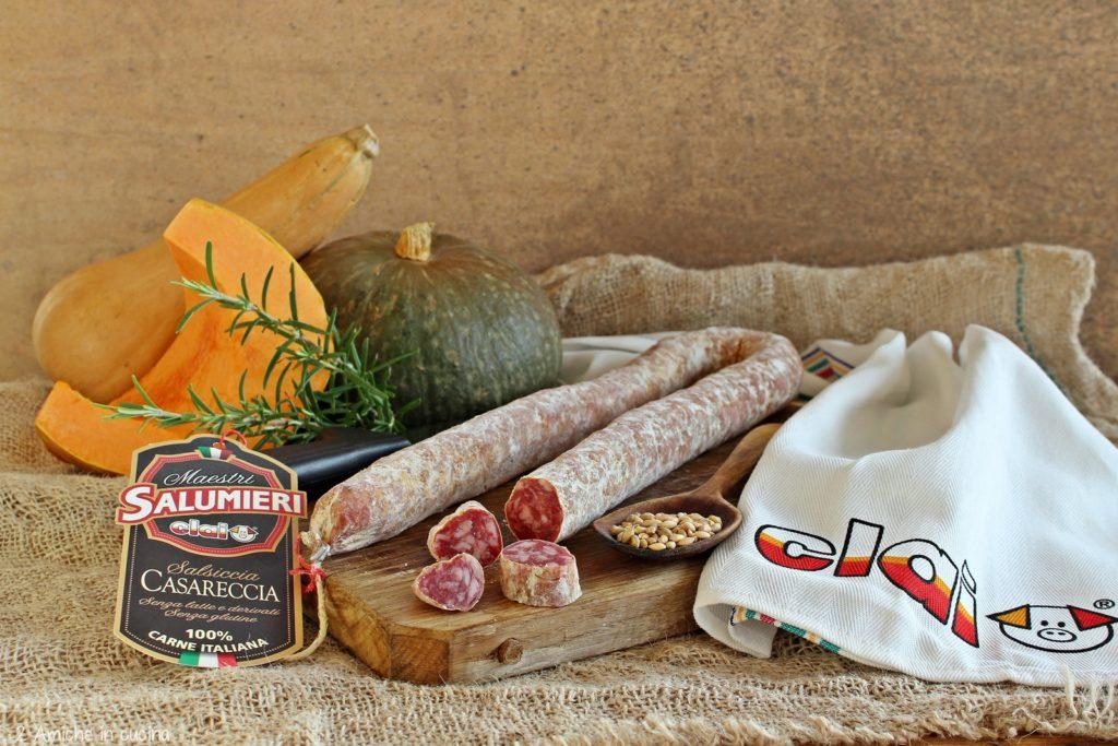 Ingredienti per la zuppa di farro con zucca e salame
