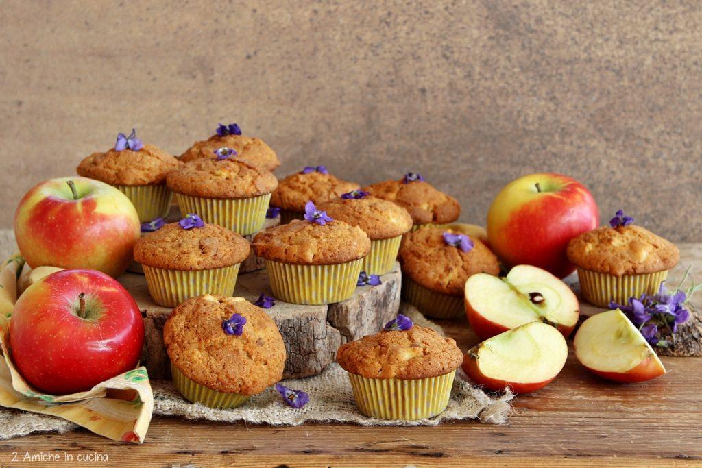 Muffin alle mele, con viole