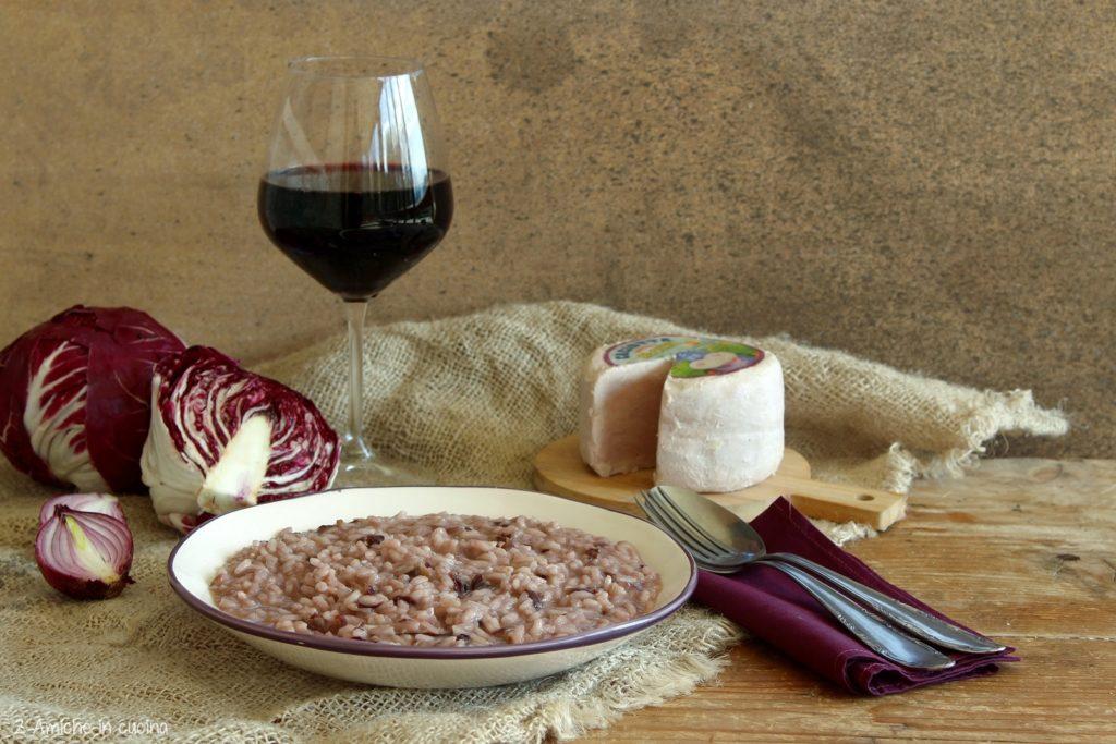 Risotto al radicchio e formaggio al vino