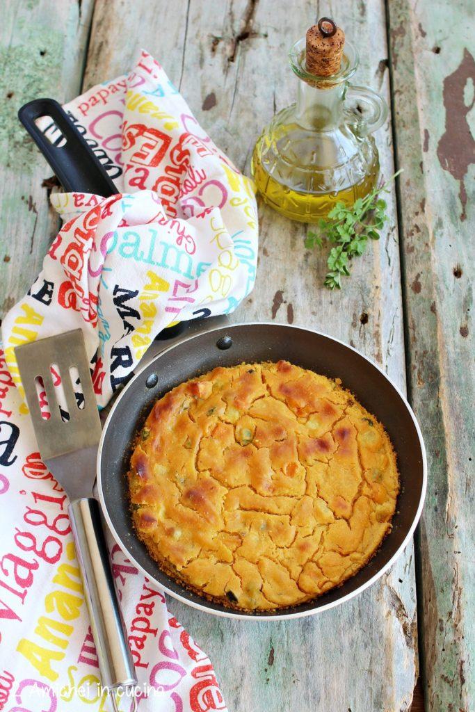 Finta frittata con farina di lupini e verdure.