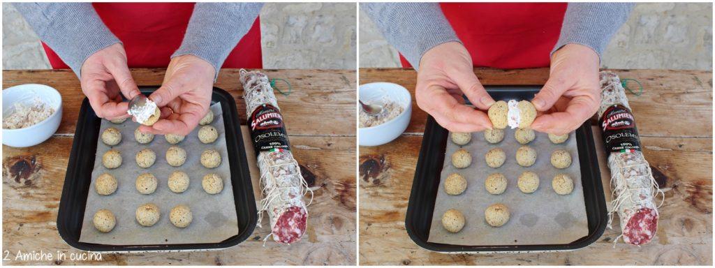Farcire i biscotti salati con crema al formaggio e salame