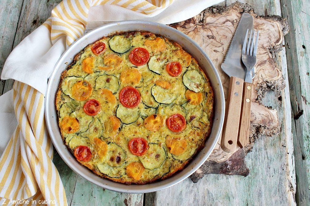 Farinata di ceci con zucchine, carote e pomodorini