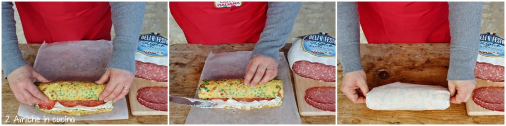 Come arrotolare una frittata farcita di salame e formaggio cremoso