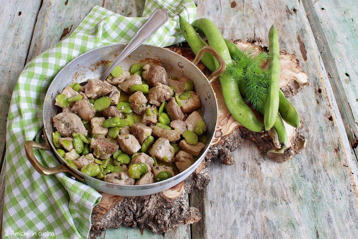 Bocconcini di maiale con fave fresche