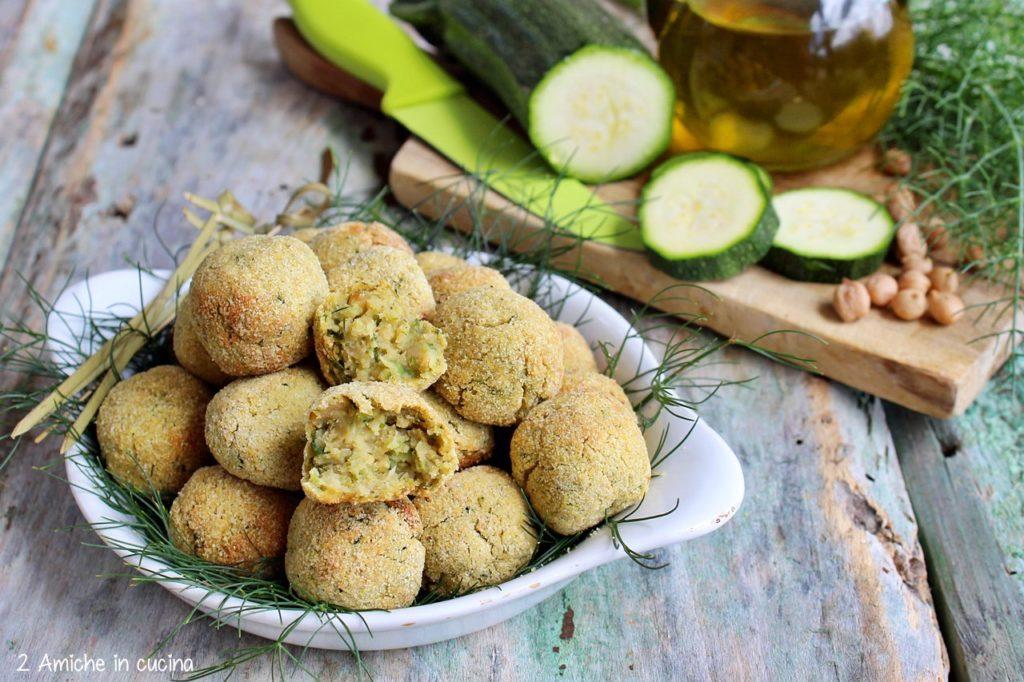 Polpette di ceci e zucchine cotte in forno, ricetta vegan, senza lattosio e senza glutine