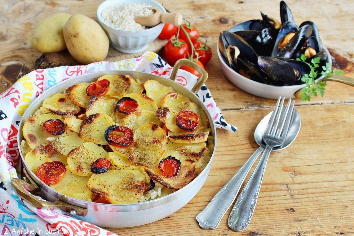 Ricetta della tiella barese, riso patate e cozze