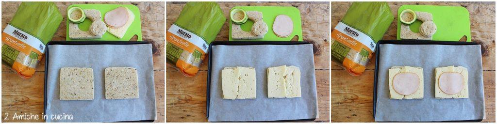 come preparare un uovo nel toast con formaggio, zucchine e cotto