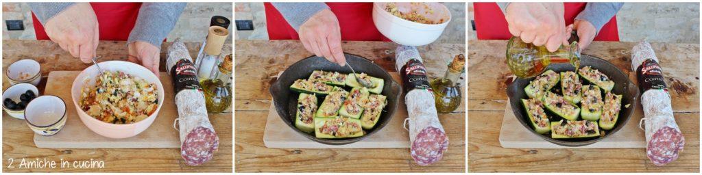 Come preparare le zucchine ripiene di pane e salame