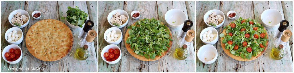 Come farcire una focaccia con verdure, funghi champignon crudi e prosciutto