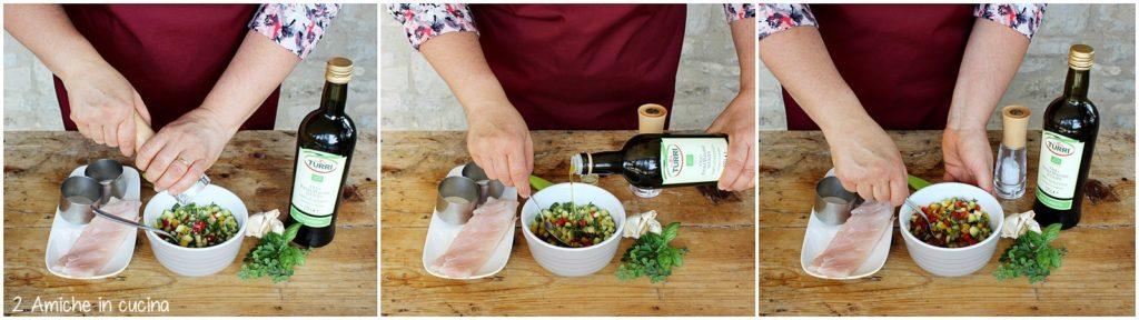 Preparazione di zucchine e peperoni da accompagnare per riempire il pesce