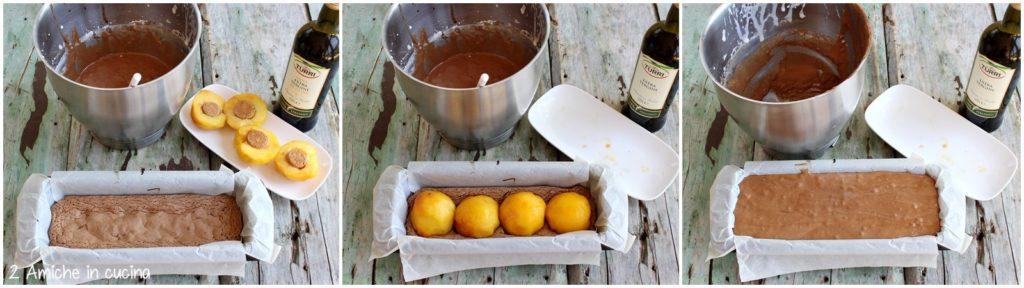 Plumcake con all'olio extra vergine di oliva, cioccolato, pesche e amaretti