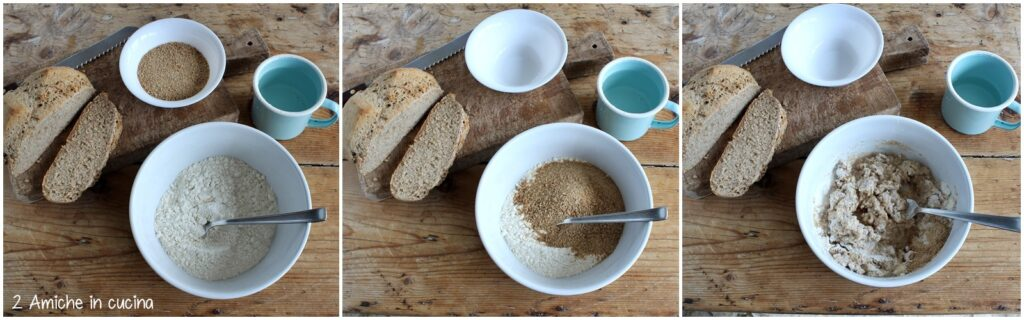 Preparazione dell'impasto degli gnocchi di pane nero